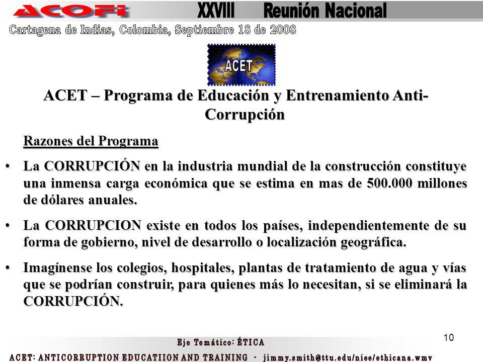 ACET – Programa de Educación y Entrenamiento Anti- Corrupción
