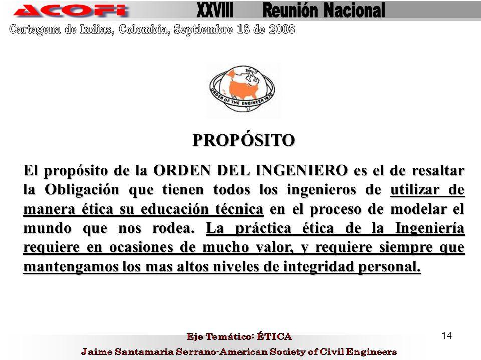 XXVIII Reunión Nacional. Cartagena de Indias, Colombia, Septiembre 18 de 2008. PROPÓSITO.