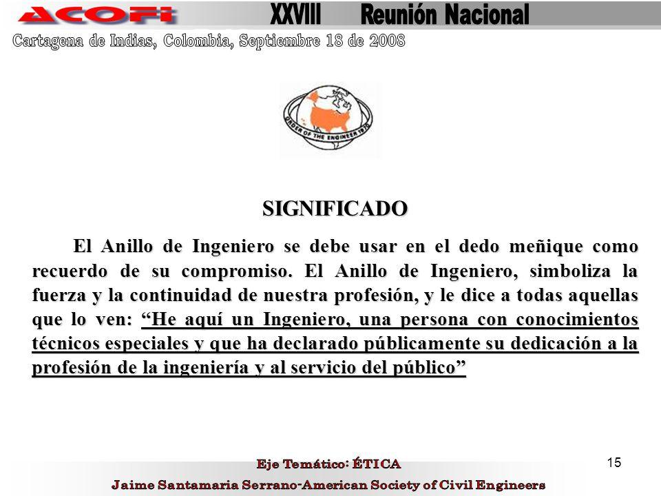 XXVIII Reunión Nacional. Cartagena de Indias, Colombia, Septiembre 18 de 2008. SIGNIFICADO.