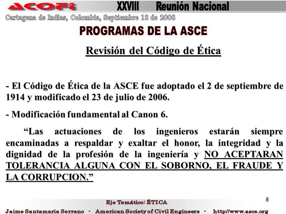 PROGRAMAS DE LA ASCE Revisión del Código de Ética