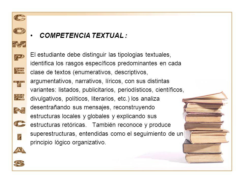 COMPETENCIA TEXTUAL : COMPETENCIAS