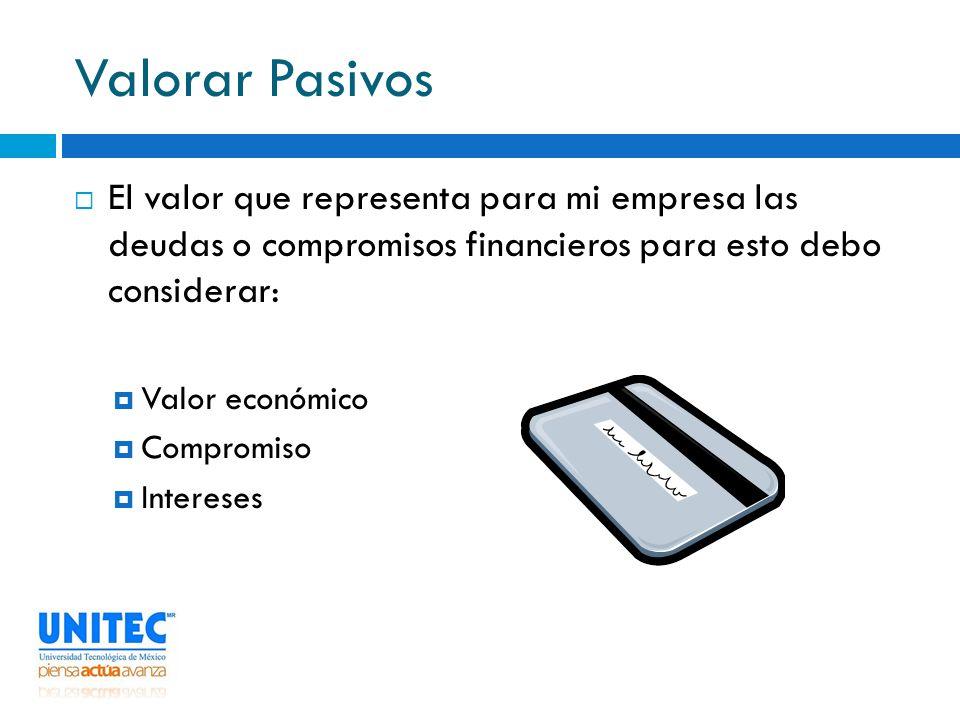 Valorar Pasivos El valor que representa para mi empresa las deudas o compromisos financieros para esto debo considerar: