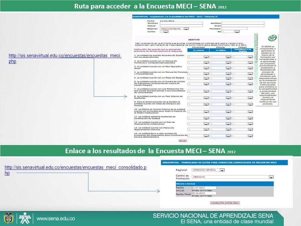 Ruta para acceder a la Encuesta MECI – SENA 2012