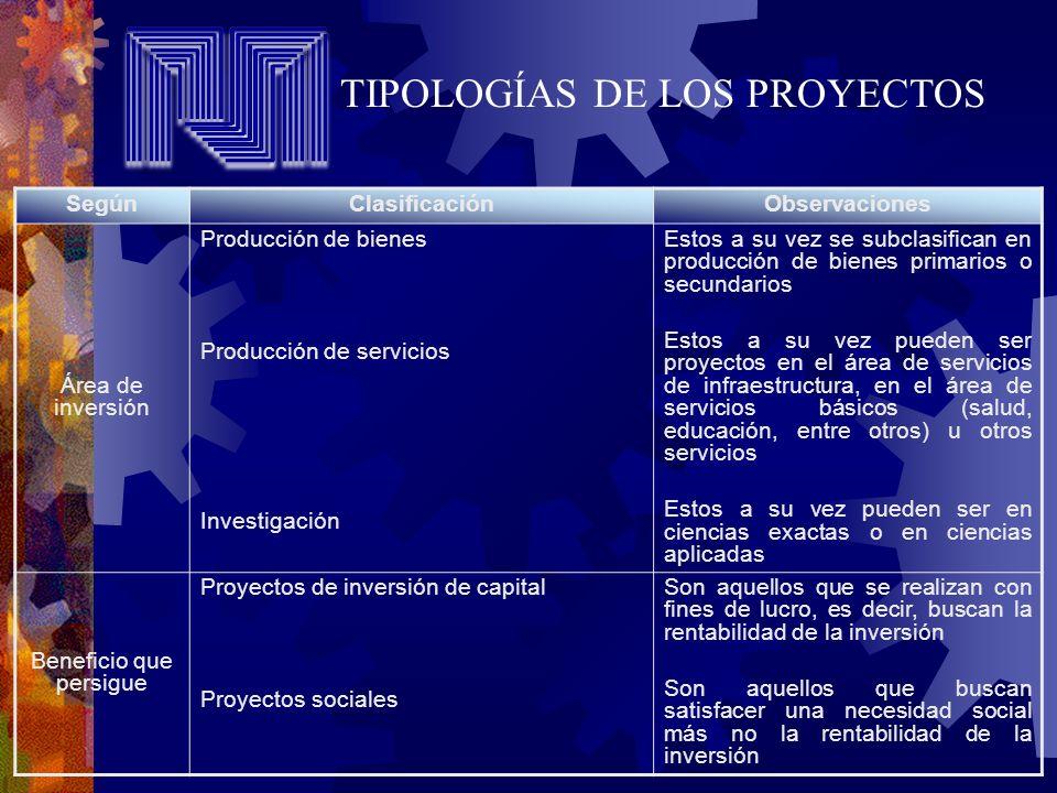 TIPOLOGÍAS DE LOS PROYECTOS