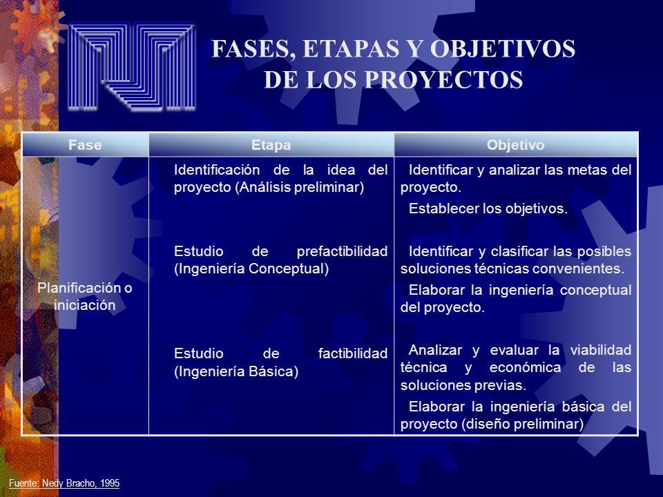 FASES, ETAPAS Y OBJETIVOS DE LOS PROYECTOS