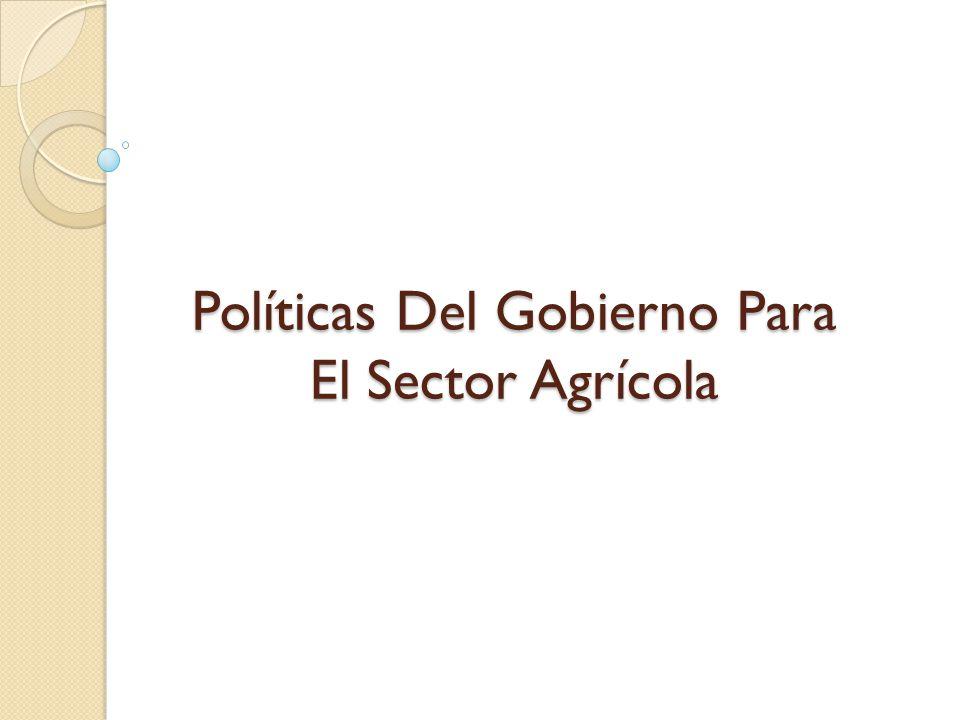 Políticas Del Gobierno Para El Sector Agrícola