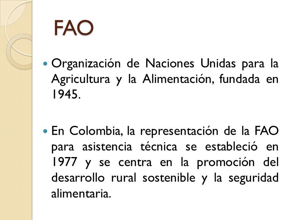 FAO Organización de Naciones Unidas para la Agricultura y la Alimentación, fundada en 1945.