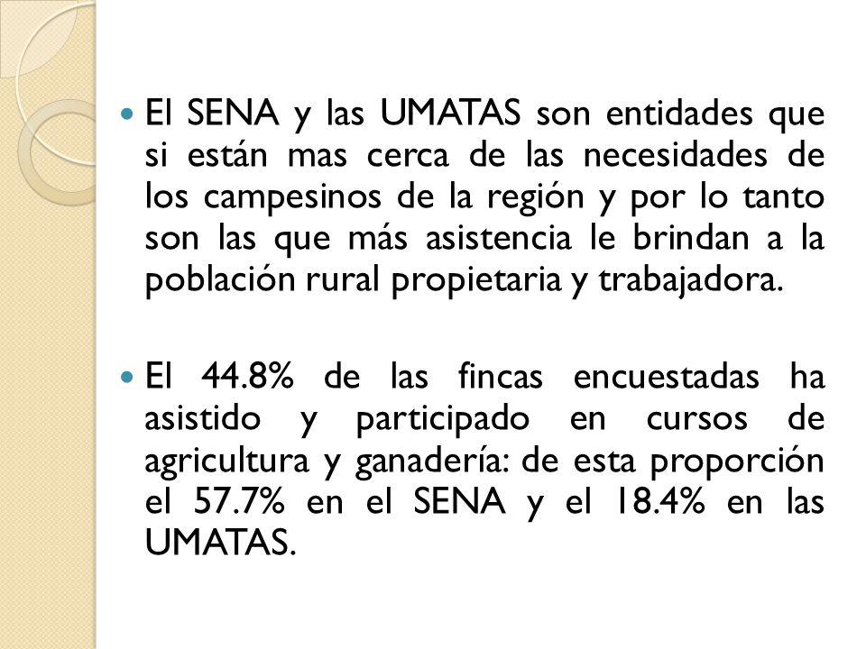 El SENA y las UMATAS son entidades que si están mas cerca de las necesidades de los campesinos de la región y por lo tanto son las que más asistencia le brindan a la población rural propietaria y trabajadora.