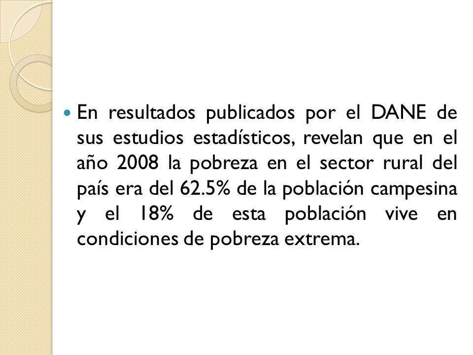 En resultados publicados por el DANE de sus estudios estadísticos, revelan que en el año 2008 la pobreza en el sector rural del país era del 62.5% de la población campesina y el 18% de esta población vive en condiciones de pobreza extrema.