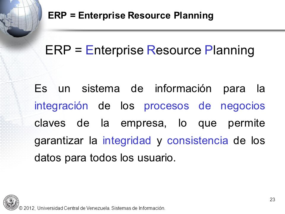 ERP = Enterprise Resource Planning