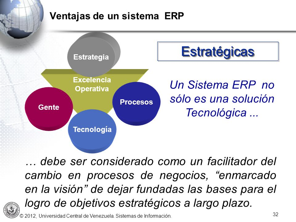 Un Sistema ERP no sólo es una solución Tecnológica ...