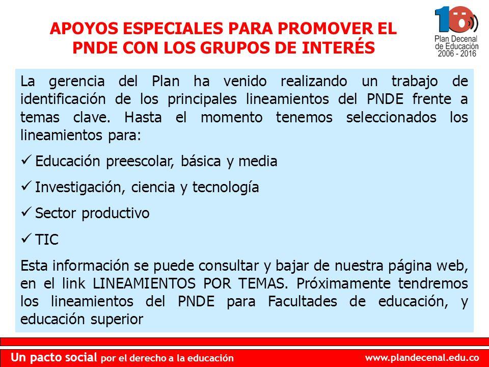 APOYOS ESPECIALES PARA PROMOVER EL PNDE CON LOS GRUPOS DE INTERÉS