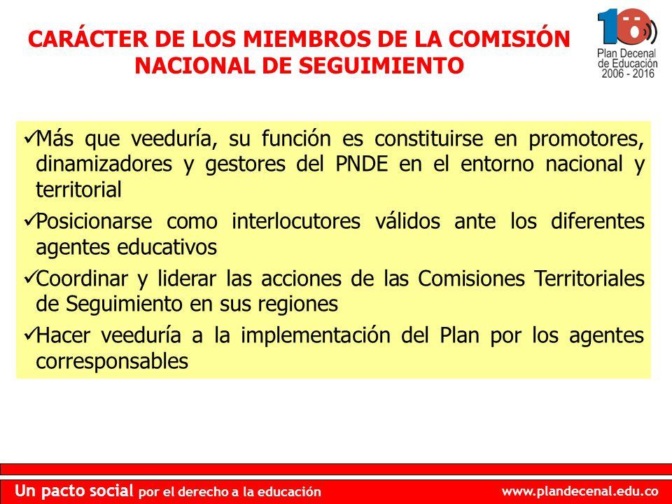 CARÁCTER DE LOS MIEMBROS DE LA COMISIÓN NACIONAL DE SEGUIMIENTO