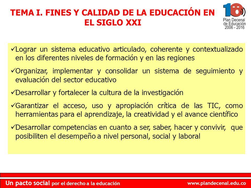 TEMA I. FINES Y CALIDAD DE LA EDUCACIÓN EN EL SIGLO XXI