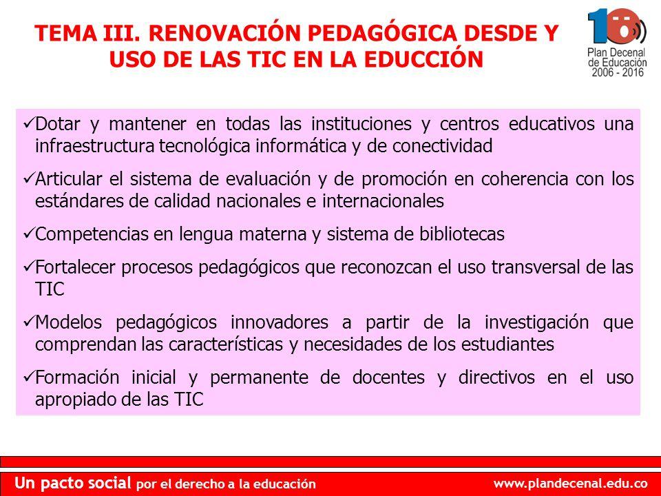 TEMA III. RENOVACIÓN PEDAGÓGICA DESDE Y USO DE LAS TIC EN LA EDUCCIÓN