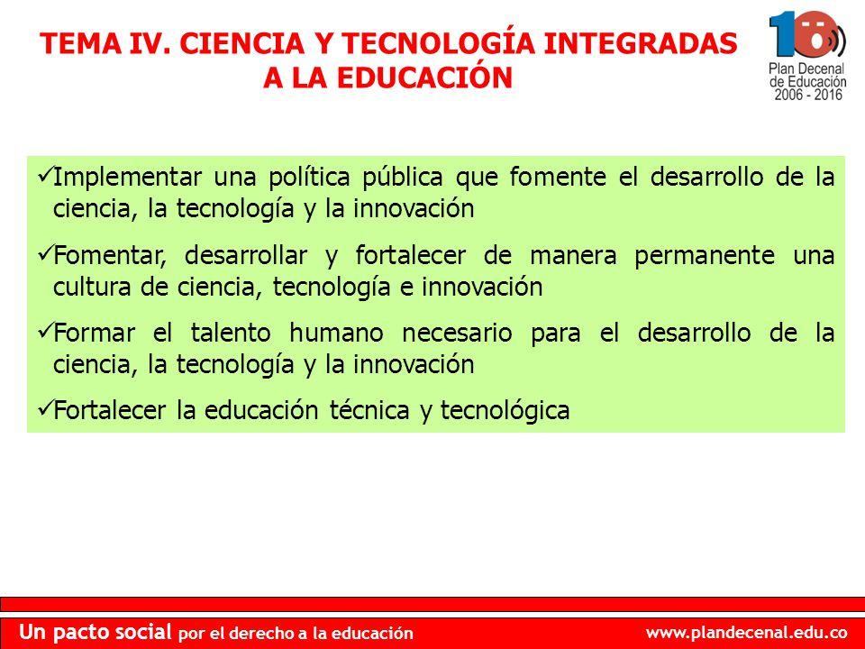 TEMA IV. CIENCIA Y TECNOLOGÍA INTEGRADAS A LA EDUCACIÓN