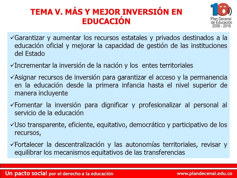 TEMA V. MÁS Y MEJOR INVERSIÓN EN EDUCACIÓN