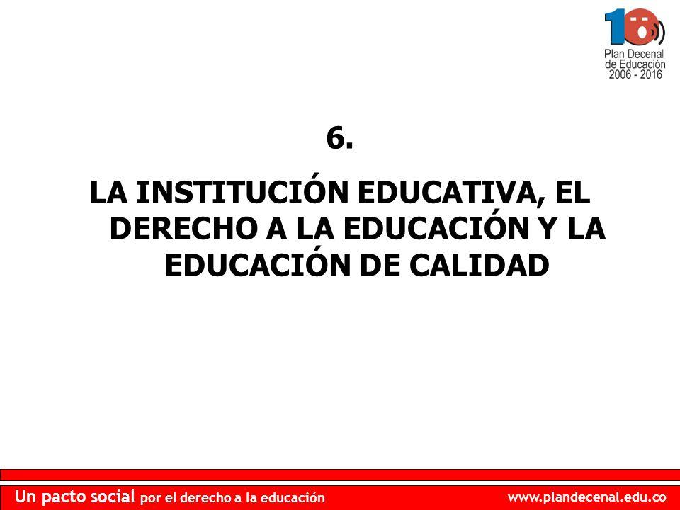 6. LA INSTITUCIÓN EDUCATIVA, EL DERECHO A LA EDUCACIÓN Y LA EDUCACIÓN DE CALIDAD