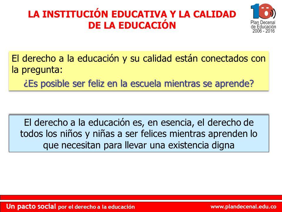 LA INSTITUCIÓN EDUCATIVA Y LA CALIDAD DE LA EDUCACIÓN