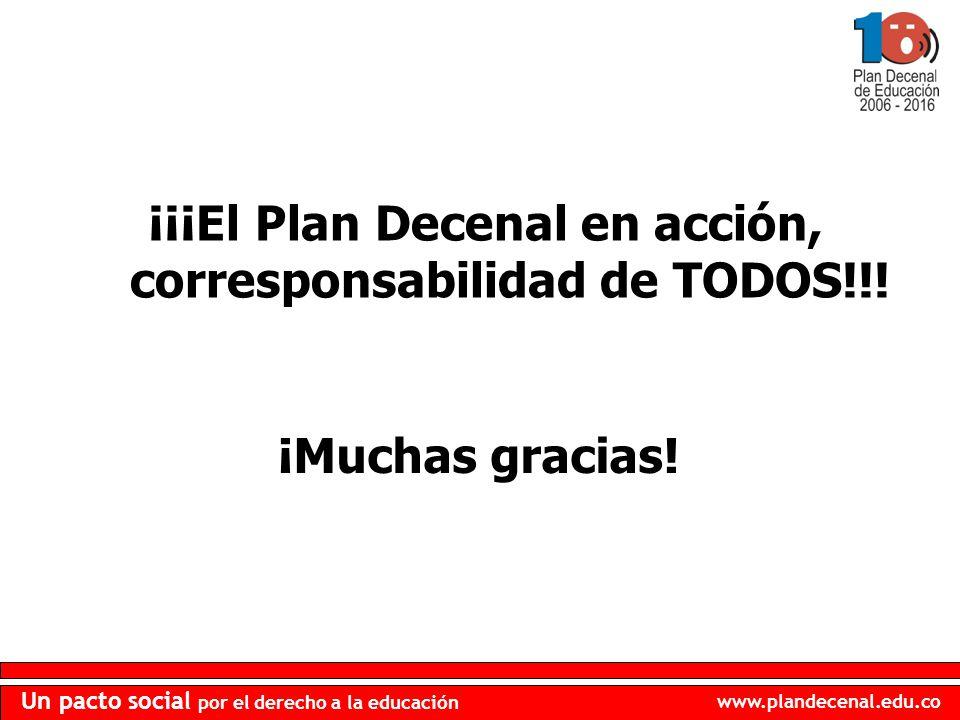 ¡¡¡El Plan Decenal en acción, corresponsabilidad de TODOS!!!