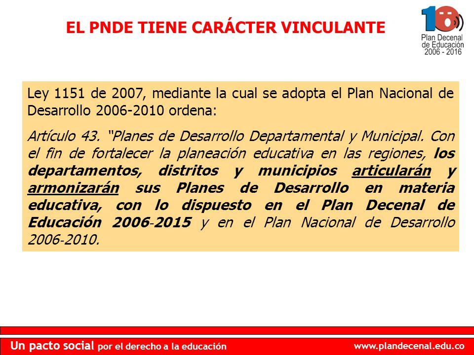 EL PNDE TIENE CARÁCTER VINCULANTE