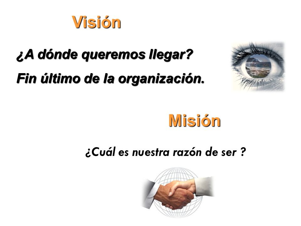 Visión Misión ¿A dónde queremos llegar Fin último de la organización.