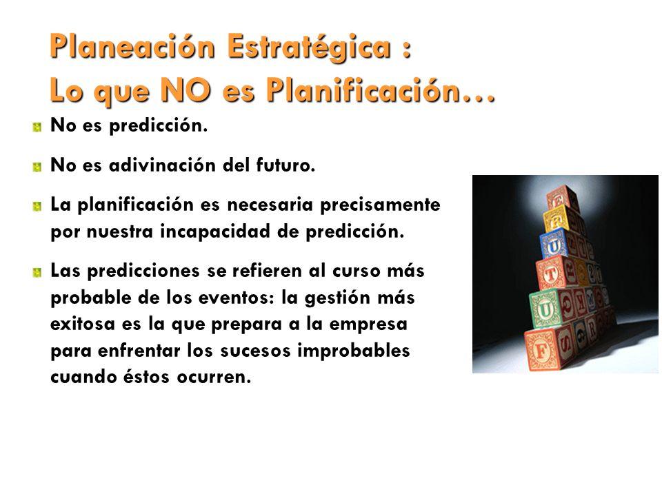 Planeación Estratégica : Lo que NO es Planificación…