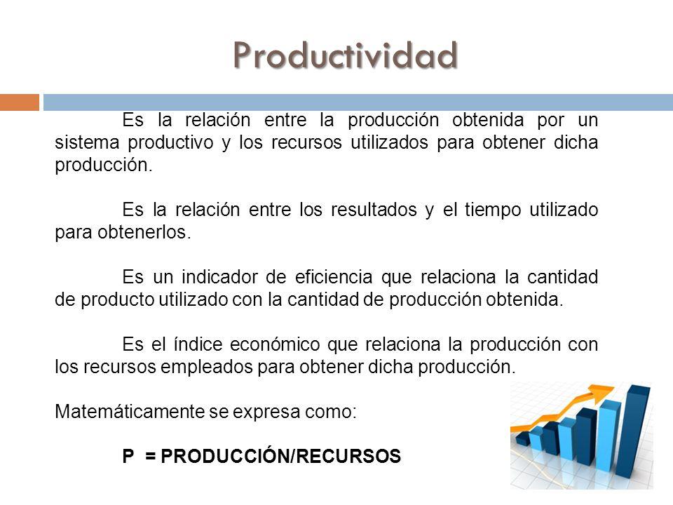 Productividad Es la relación entre la producción obtenida por un sistema productivo y los recursos utilizados para obtener dicha producción.