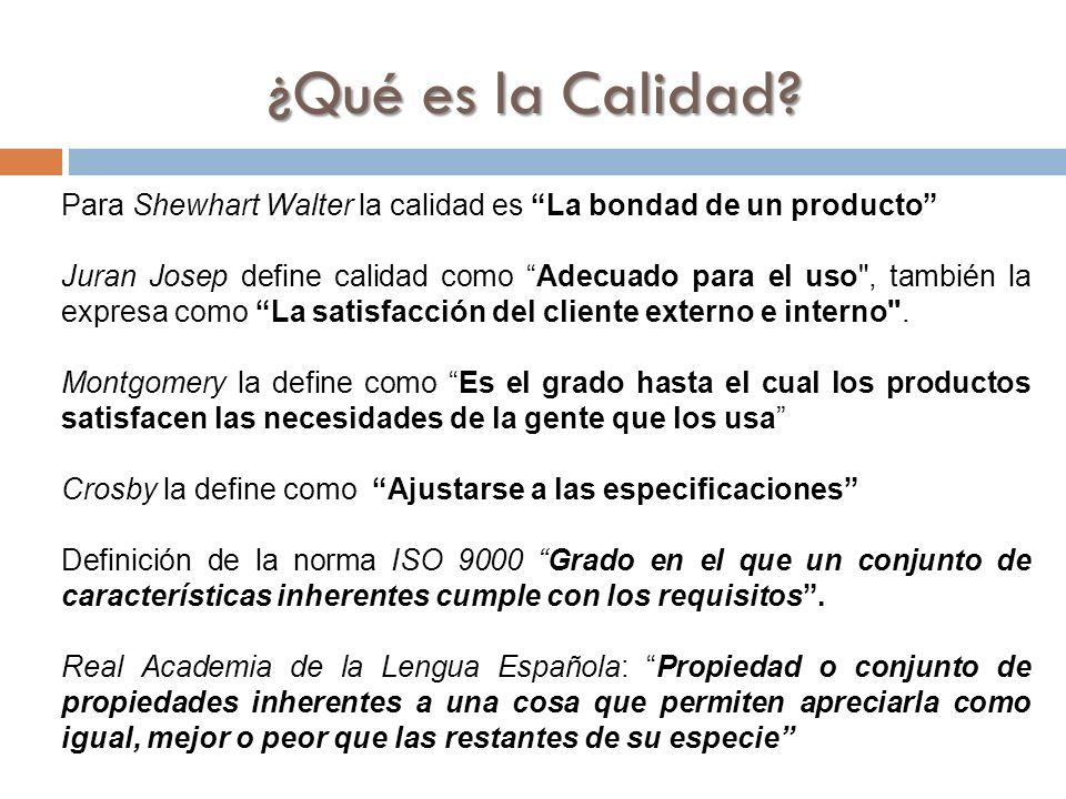 ¿Qué es la Calidad Para Shewhart Walter la calidad es La bondad de un producto