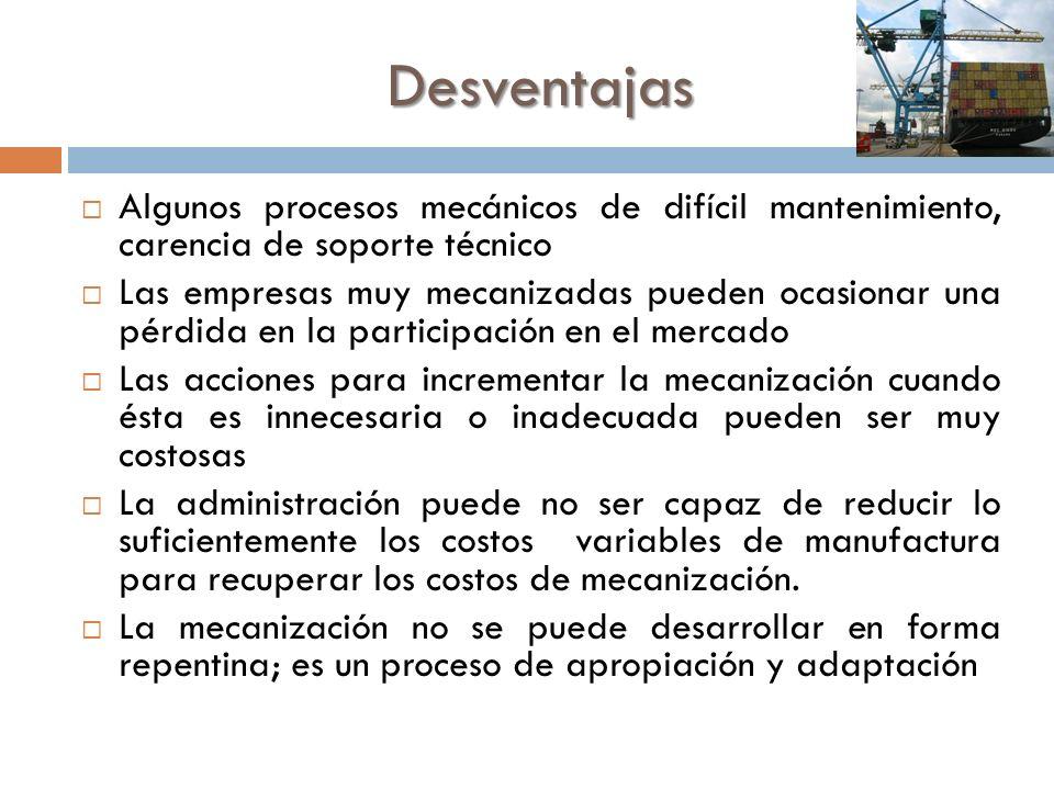 Desventajas Algunos procesos mecánicos de difícil mantenimiento, carencia de soporte técnico.