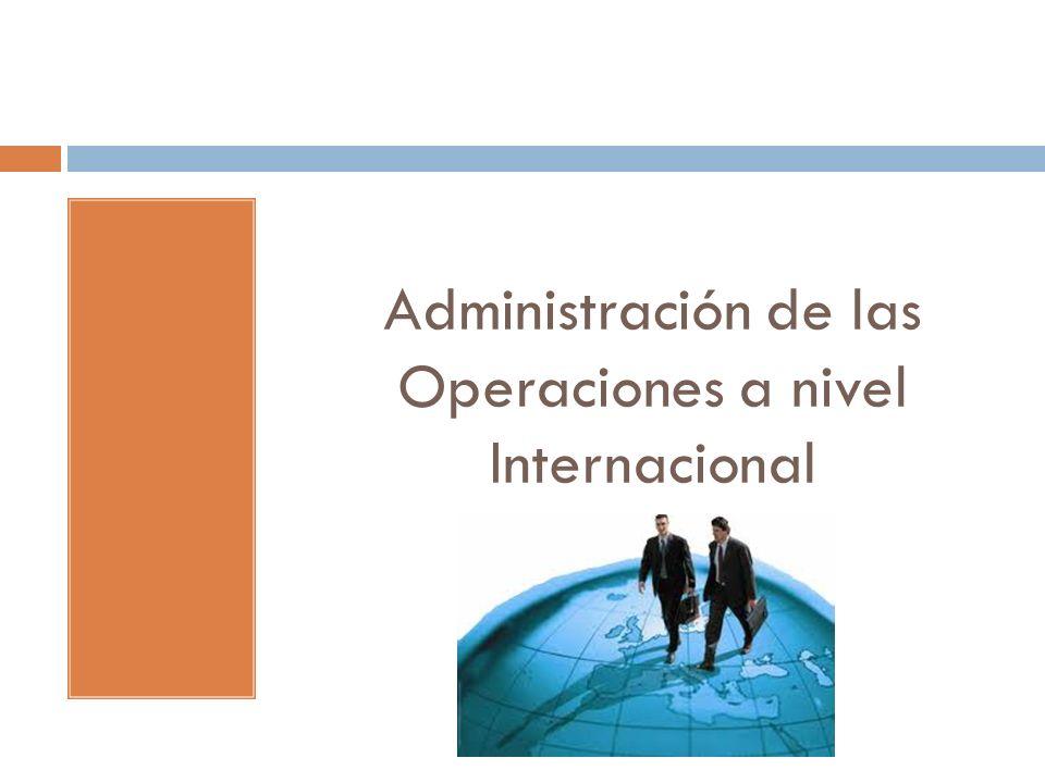 Administración de las Operaciones a nivel Internacional