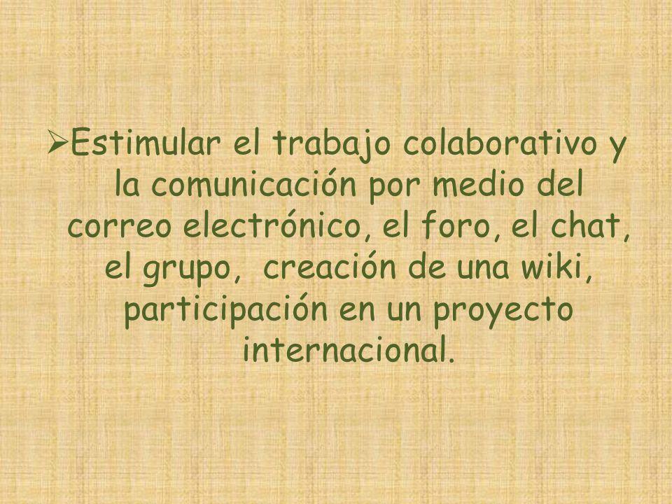 Estimular el trabajo colaborativo y la comunicación por medio del correo electrónico, el foro, el chat, el grupo, creación de una wiki, participación en un proyecto internacional.