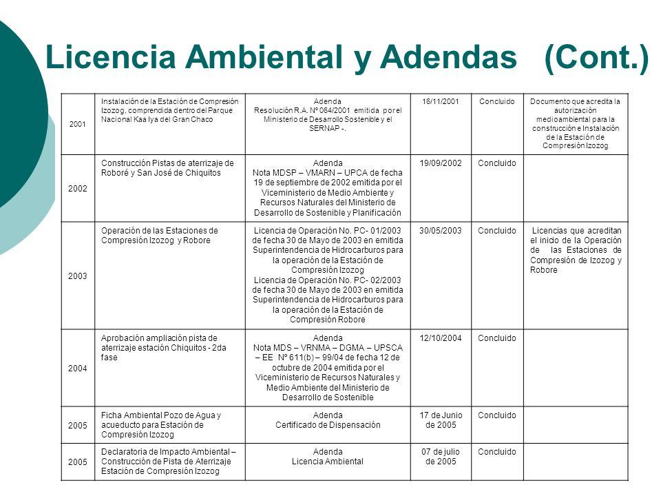 Licencia Ambiental y Adendas (Cont.)