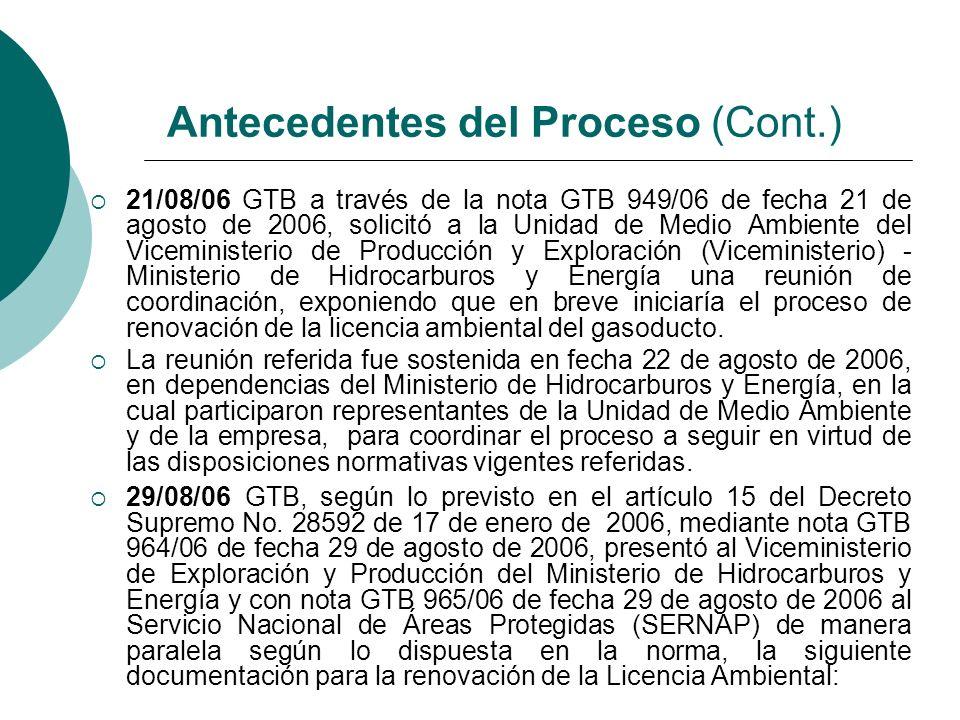 Antecedentes del Proceso (Cont.)