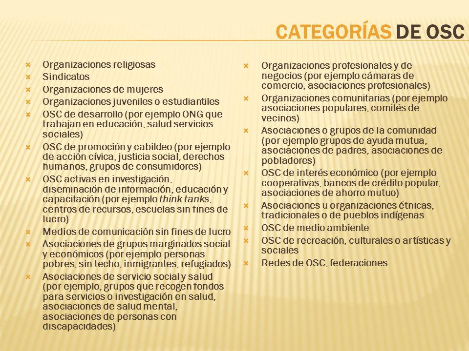 CATEGORÍAS DE OSC Organizaciones profesionales y de negocios (por ejemplo cámaras de comercio, asociaciones profesionales)