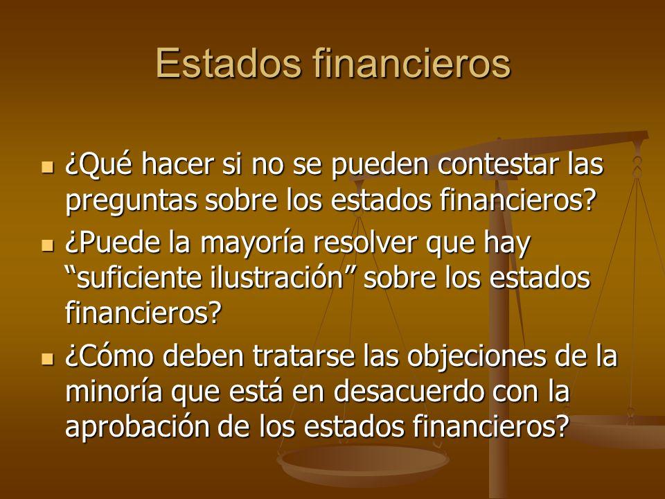 Estados financieros ¿Qué hacer si no se pueden contestar las preguntas sobre los estados financieros