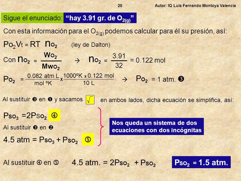 nO2 nO2 Po2Vt = RT PO2 PO2 PSO3 =2PSO2  4.5 atm = PSO3 + PSO2 