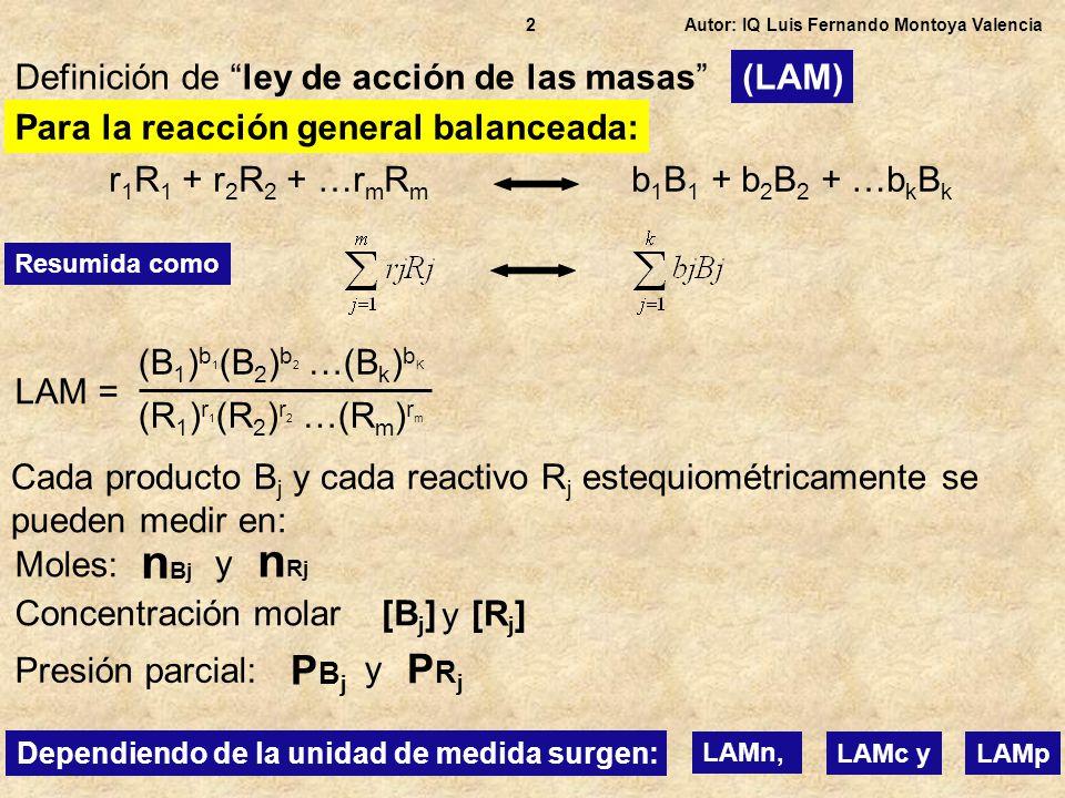 nBj nRj PBj PRj Definición de ley de acción de las masas (LAM)