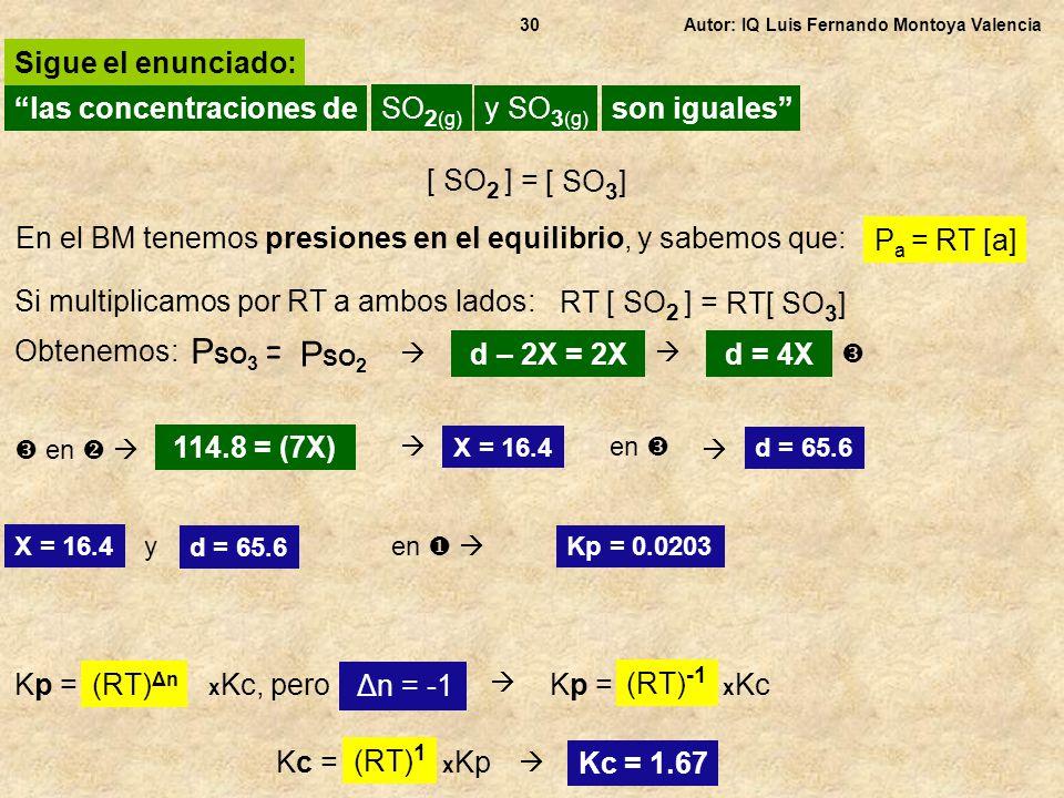 PSO3 = PSO2 Sigue el enunciado: las concentraciones de SO2(g)