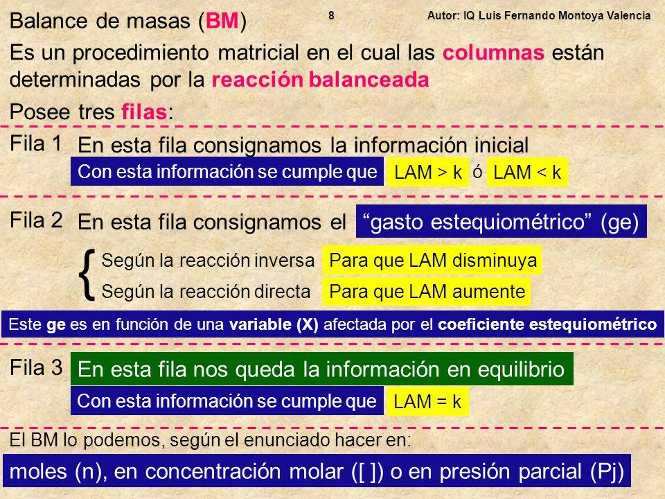 Balance de masas (BM) 8. Autor: IQ Luis Fernando Montoya Valencia.