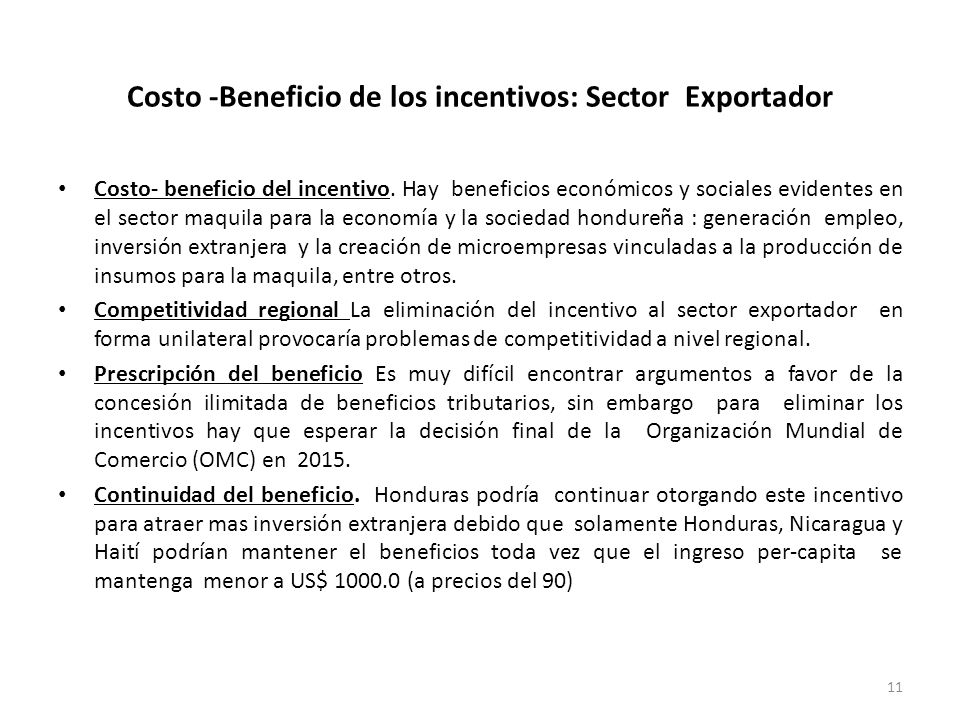 Costo -Beneficio de los incentivos: Sector Exportador