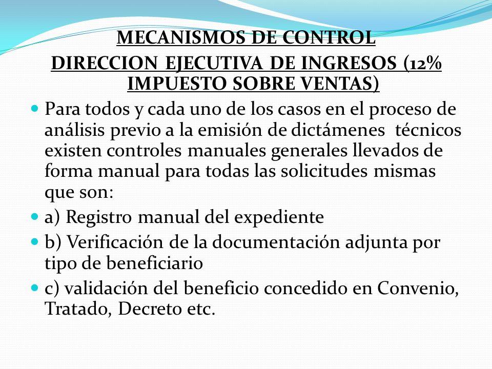 DIRECCION EJECUTIVA DE INGRESOS (12% IMPUESTO SOBRE VENTAS)
