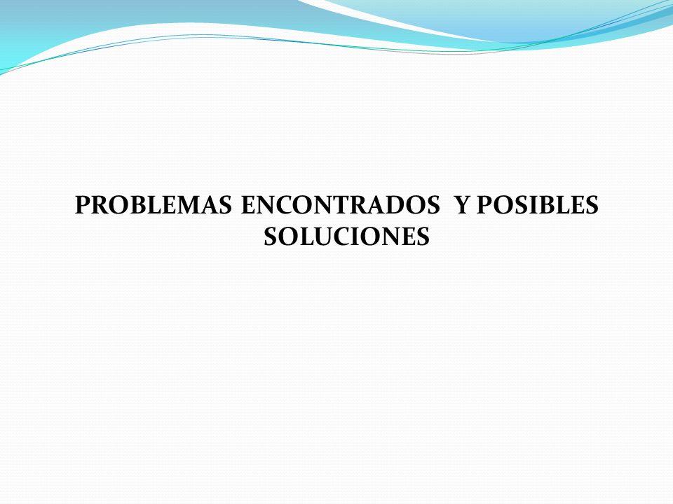 PROBLEMAS ENCONTRADOS Y POSIBLES SOLUCIONES
