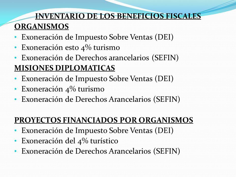INVENTARIO DE LOS BENEFICIOS FISCALES