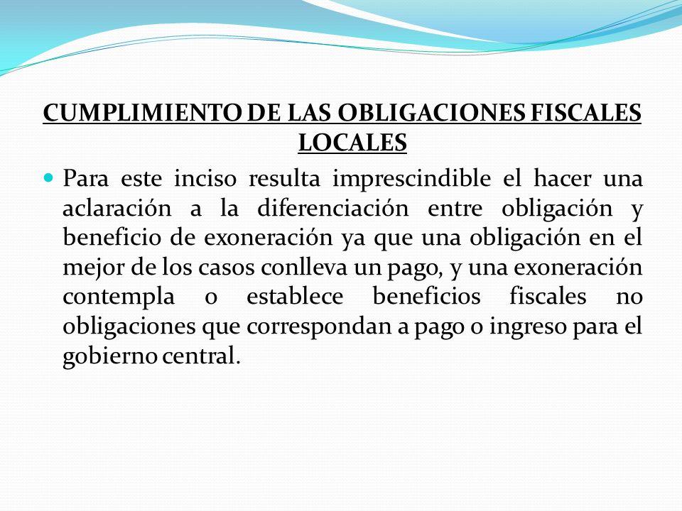 CUMPLIMIENTO DE LAS OBLIGACIONES FISCALES LOCALES