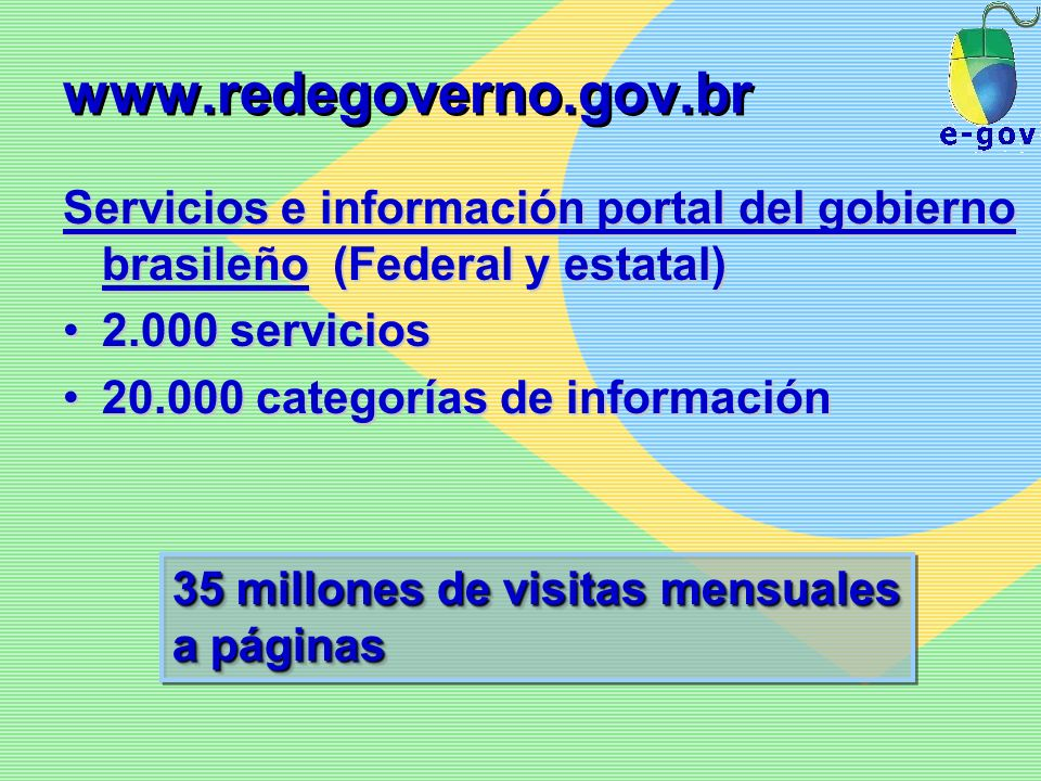 www.redegoverno.gov.brServicios e información portal del gobierno brasileño (Federal y estatal) 2.000 servicios.
