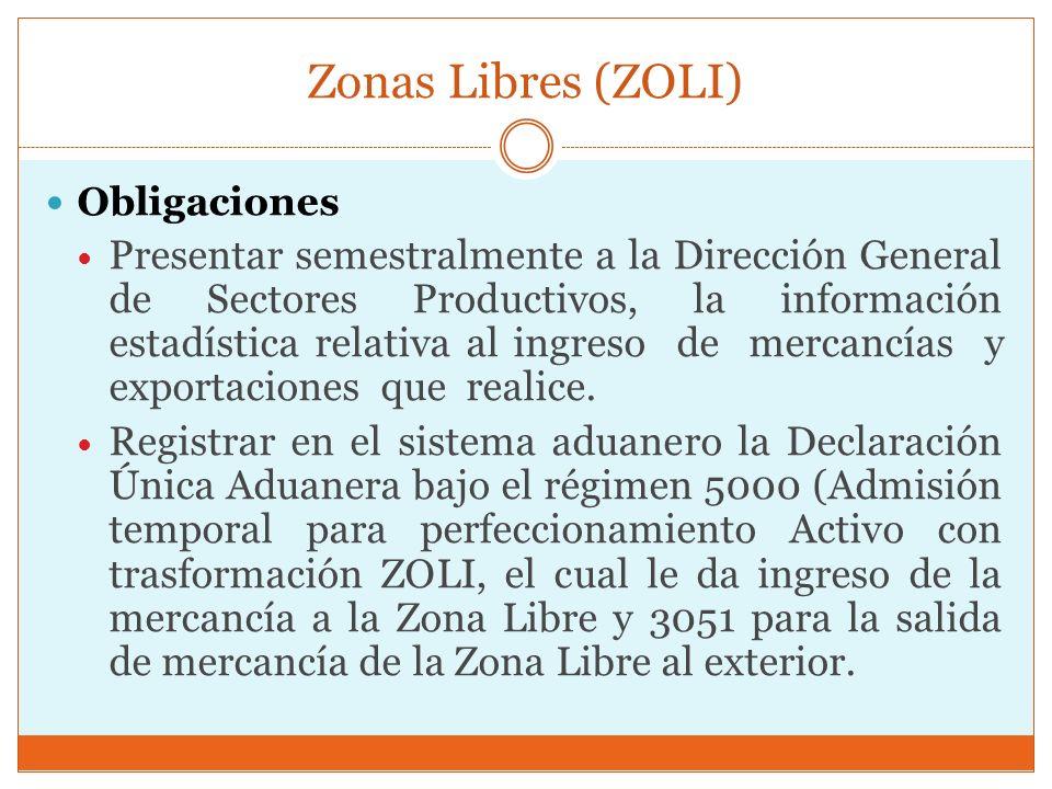 Zonas Libres (ZOLI) Obligaciones.