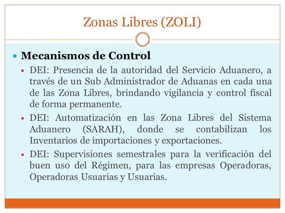 Zonas Libres (ZOLI) Mecanismos de Control