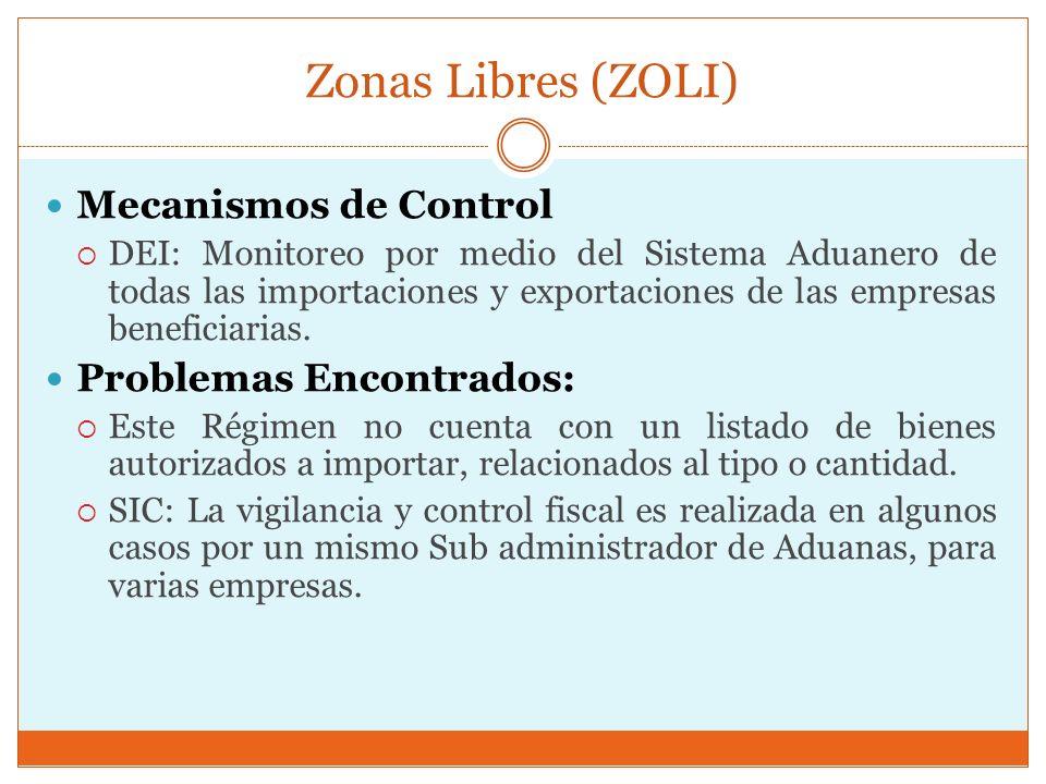 Zonas Libres (ZOLI) Mecanismos de Control Problemas Encontrados: