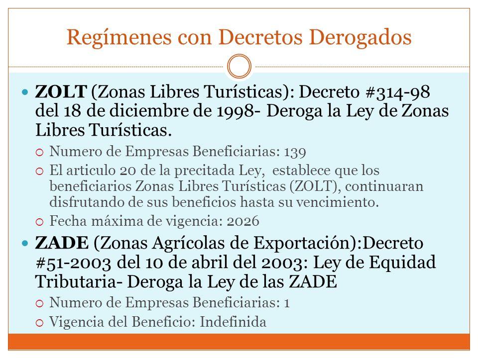 Regímenes con Decretos Derogados